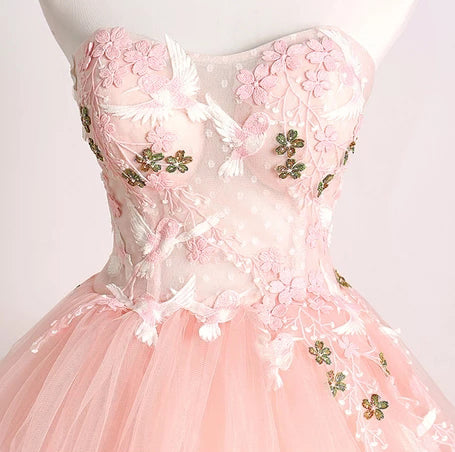 Princess Ball Gown Pink 3D Lace Multi-layered Prom Dresses, Tulle Quinceanera Dresses P1244
