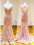 Mermaid Spaghetti Straps Pink Lace V Neck Beads Prom Dresses with Appliques P1459