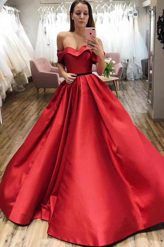 Red Ball Gown Off the Shoulder V Neck Satin Prom Dresses, Evening Dresses P1473