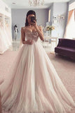 Elegant Spaghetti Straps Sweetheart Tulle Pink Prom Dress with Beading, Long Formal Dress P1375
