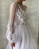Jewel See Through Long Sleeve Ivory Lace Appliques Prom Dresses, Wedding Dresses P1402
