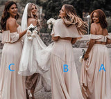 A Line Off the Shoulder Chiffon Cheap Two Pieces Backless Bridesmaid Dresses BD1040