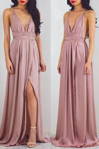 Beach Open Back Side Split Sexy Long Cheap Prom Dresses,PM0267