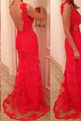 Charming Mermaid Red V-Neck Prom Dress Lace Party Dress Backless
