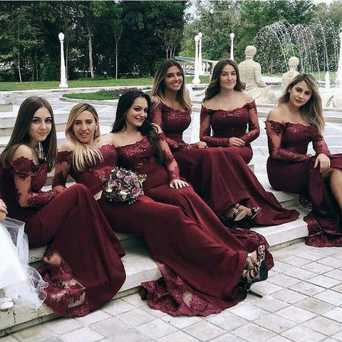 Burgundy Long Sleeves Off the Shoulder Mermaid Cheap Long Bridesmaid Dresses uk PW305