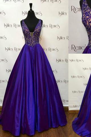Gorgeous A-line V-neckline Beaded Royal Blue Sleeveless Floor-Length Prom Dresses uk PM191