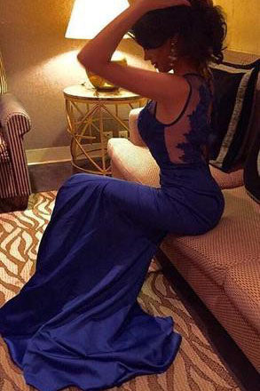 Royal Blue Backless Long Charming Evening Dress Formal Women Dress,Prom Dresses uk PM674