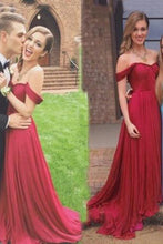 Charming A-Line Off-the-Shoulder Floor Length Red Prom/Evening Dress uk with Ruched PM866