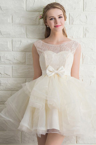 Scoop Neck Lace Tulle Bowknot Organza Lace up Short Prom Dress,Homecoming Dresses uk PH941
