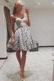 Cute A Line Sweetheart Strapless Open Back Grey Lace Short Homecoming Dresses uk PH947