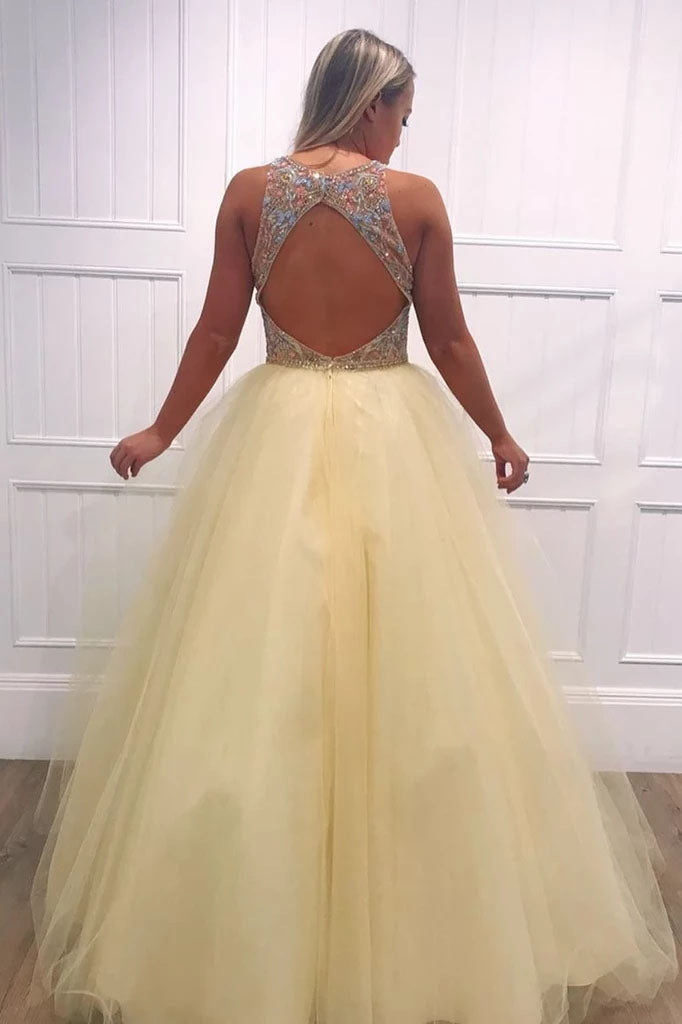 Light Yellow Tulle Beading V Neck Long Prom Dresses with Open Back, Evening Dresses P1381