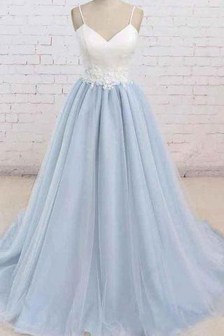 A Line Light Blue Spaghetti Straps Prom Dresses Sweetheart Long Evening Dresses PW602
