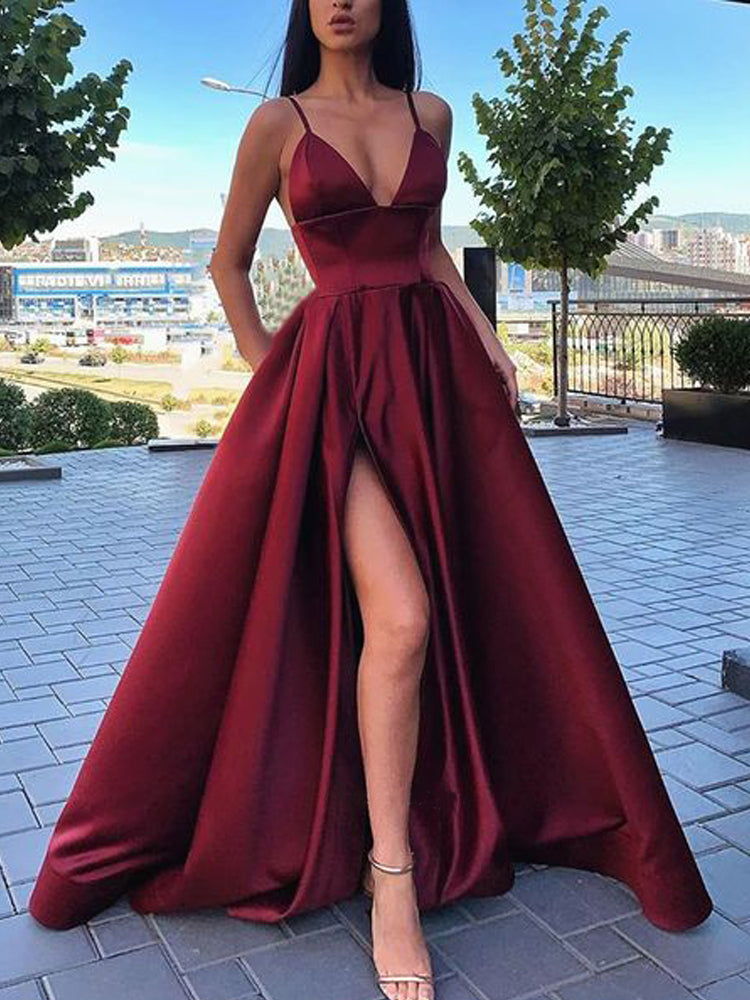 Simple A Line Spaghetti Straps V Neck Satin Prom Dresses with Slit, Formal Dresses P1510