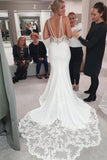Charming Mermaid Straps V Back Lace Sweetheart Wedding Dresses, Long Wedding Gowns W1168