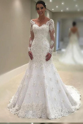 Elegant Lace V Neck Neckline Mermaid Long Sleeve Wedding Dresses with Appliques uk PW69