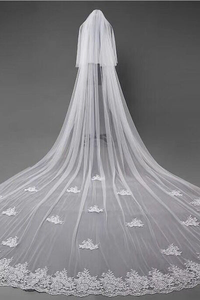 3D Flowers Lace Appliques Tulle Ivory Wedding Veils uk PW180