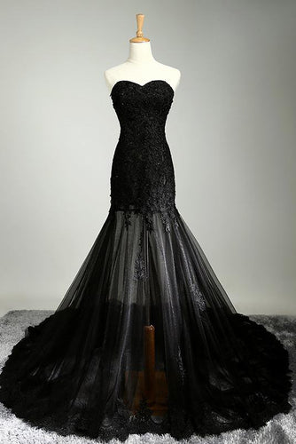 Sexy Black Sweetheart Sheath Tulle Beads Lace Appliques Strapless Long Prom Dresses uk PW30