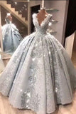 Ball Gown V Neck Floor Length Prom Dresses with Appliques, Quinceanera Dress W1433
