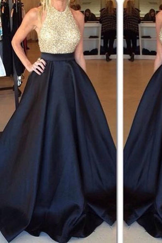 New Arrival Crew Neck Gold Sequins Black Satin Backless Sleeveless Prom Dresses uk PW440