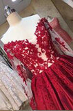 A-line Long Sleeves Sweetheart Lace Floor-Length Burgundy Cheap Prom Dresses uk PM760