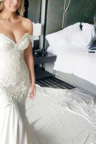 Mermaid Off-the-Shoulder White Lace Long Cheap Sweetheart Backless Plus Size Wedding Dress PM619