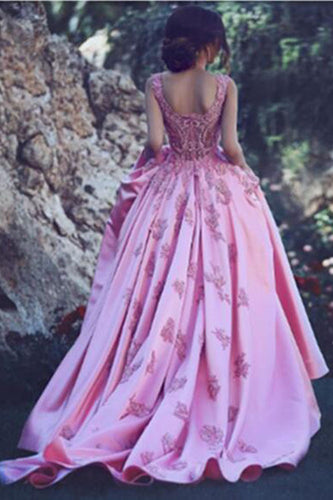A-Line Luxury Square Appliques Beaded Satin Sweetheart Lace up Pink Quinceanera Dress PH399