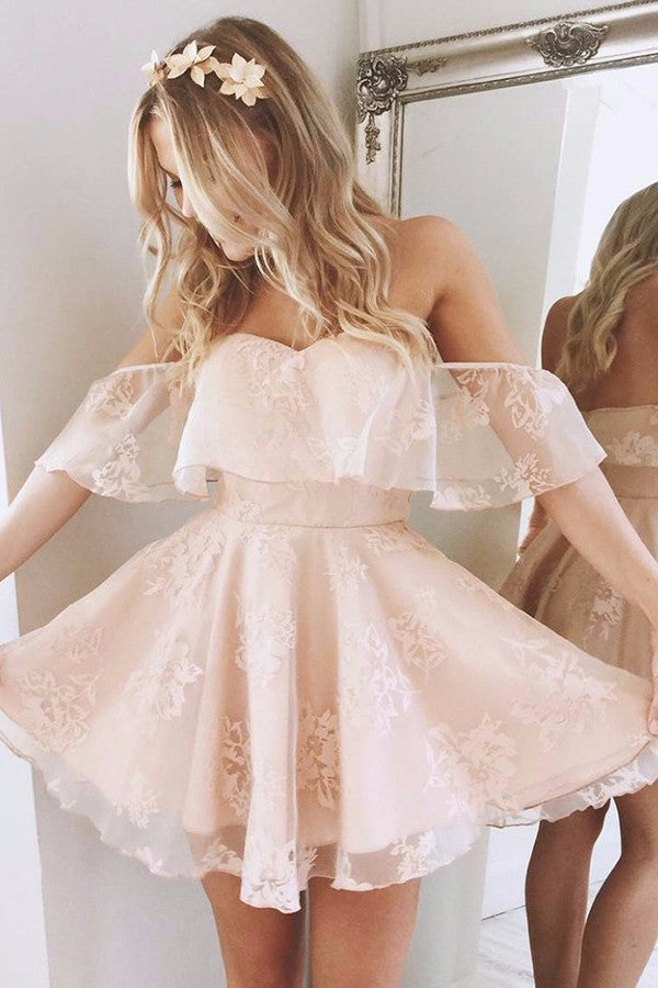 A-Line Off-the-Shoulder Short Pearl Pink Lace Homecoming Dress,Sweet 16 Dress,HG79