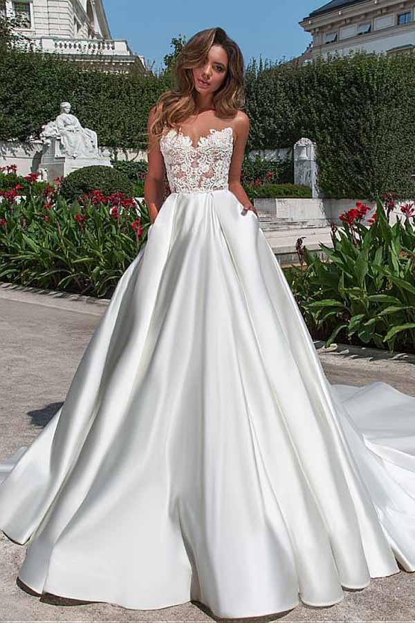 Satin Neckline A Line Open Back Lace Wedding Dress With Pockets Lace Appliques Ph497