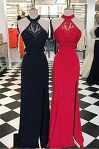Charming Halter Red and Black Beaded Sleeveless A-Line Open Back Sexy Prom Dresses uk PM173
