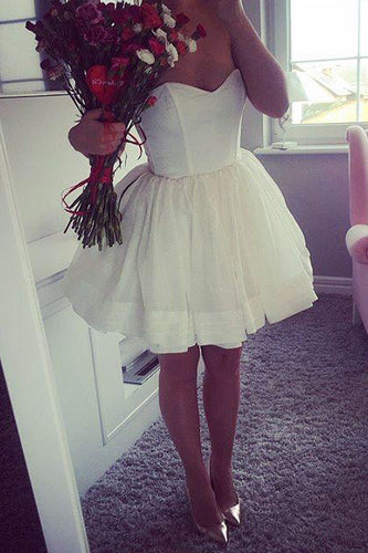 Mini Strapless Cute A-Line Sweetheart Ivory Short Open Back Homecoming Graduation Dress PM251