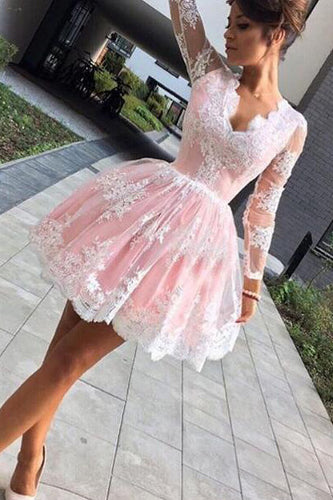Cute A-line Long Sleeves Pink Short Lace Appliques V-Neck Homecoming Dress PM45