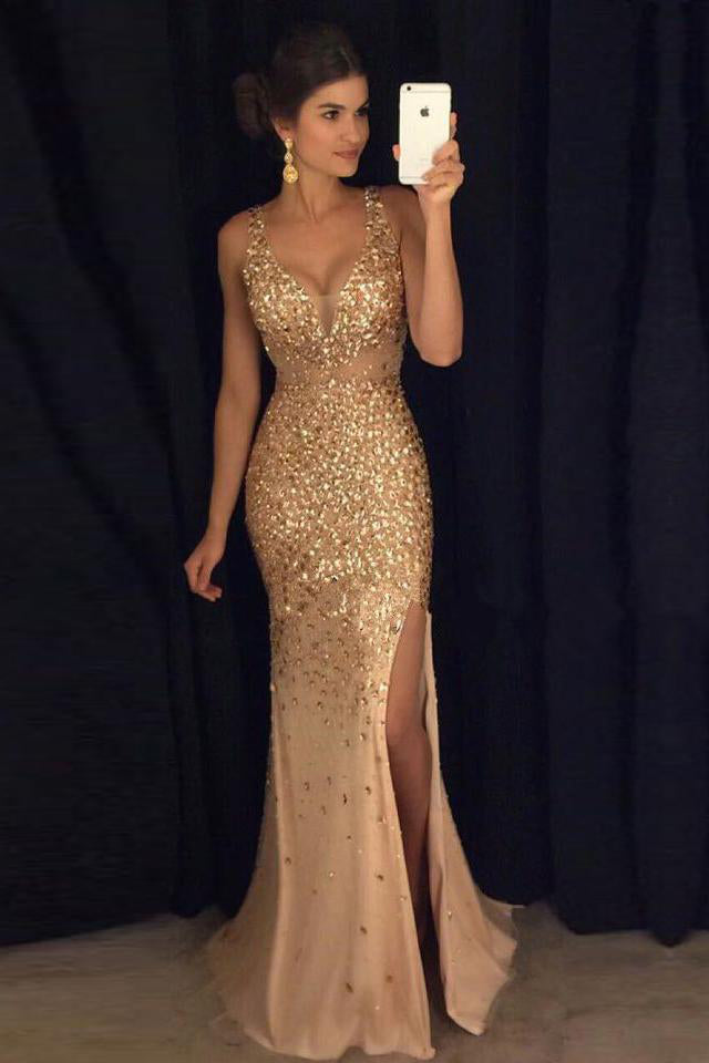 addb7363a1 Elegant Gold Mermaid V-Neck Beads Side slit Tulle Long Evening Prom Dresses  UK PH492