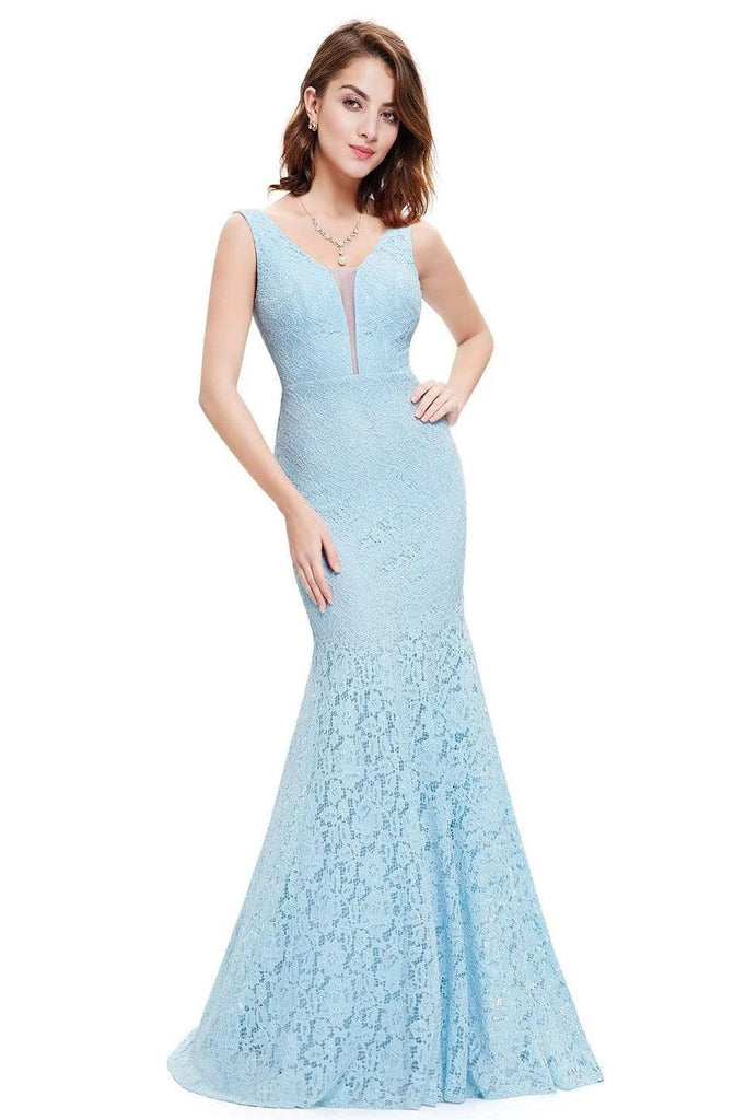 Sexy Fitted Lace Mermaid Blue V Neck Long Prom Dresses Evening Dresses P1169