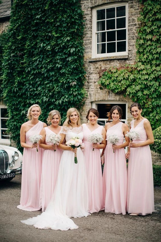 A Line Pink One Shoulder Chiffon Long Simple Bridesmaid Dresses, Wedding Party Dresses BD1042