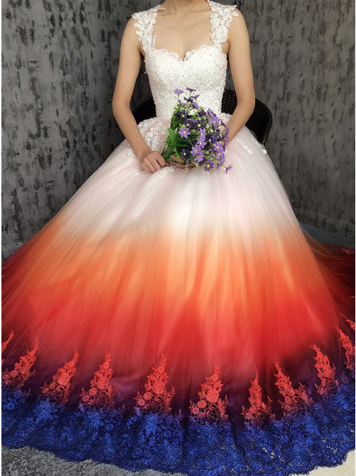 Princess Sweetheart Lace Appliques Ombre Tulle Long Prom Dresses Wedding Dresses W1119