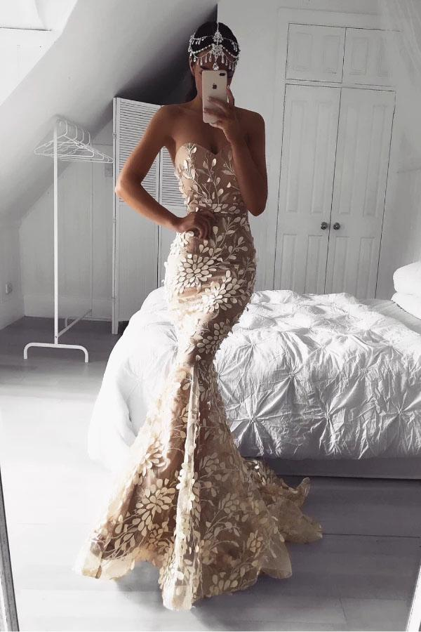 Sexy Mermaid Backless Sweetheart Strapless Prom Dress With Appliques, Long Party Dresses P1296