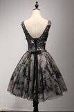V-Neck Short Black Lace Homecoming Prom Dresses,Short Party Prom Dresses
