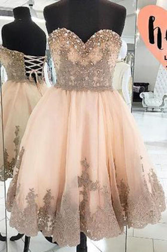Cheap Homecoming Dress With Appliques Strapless Tulle Sweetheart  Party Dresses PM319