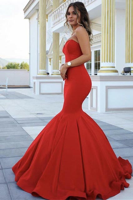 25a6299009d Red Chic Strapless Sleeveless Sweetheart Mermaid Satin Full-length Prom  Dresses uk PM281