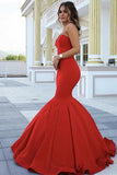 Red Chic Strapless Sleeveless Sweetheart Mermaid Satin Full-length Prom Dresses uk PM281