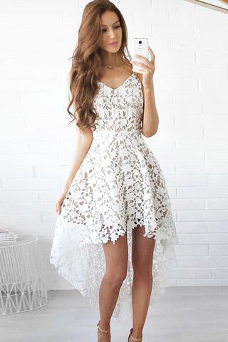 White High Low Short Sweetheart Spaghetti Hollow V-Neck Lace Homecoming Dress PM188