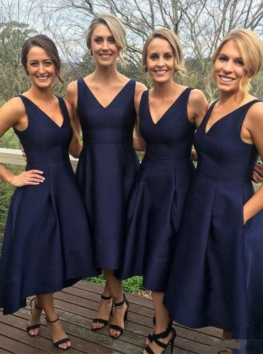 Elegant A-Line V-Neck Sleeveless Hi-Low Navy Blue Satin Bridesmaid Dress PM92