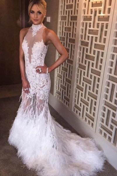 Halter Neck Feather Mermaid Appliques White Evening Dress With Court Train Prom Dresses uk