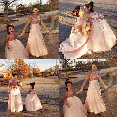 Princess Sequins Bodice Mother and Kids Dress Ball Gown Princess Flower Girl Dresses