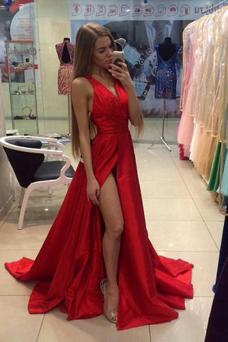 A Line Red Sleeveless V Neck with Side Split Floor Length Open Back Satin Prom Dresses uk PW52