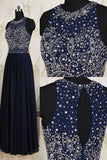 Navy Blue Elegant Long Beaded Chiffon Pageant Formal Gowns