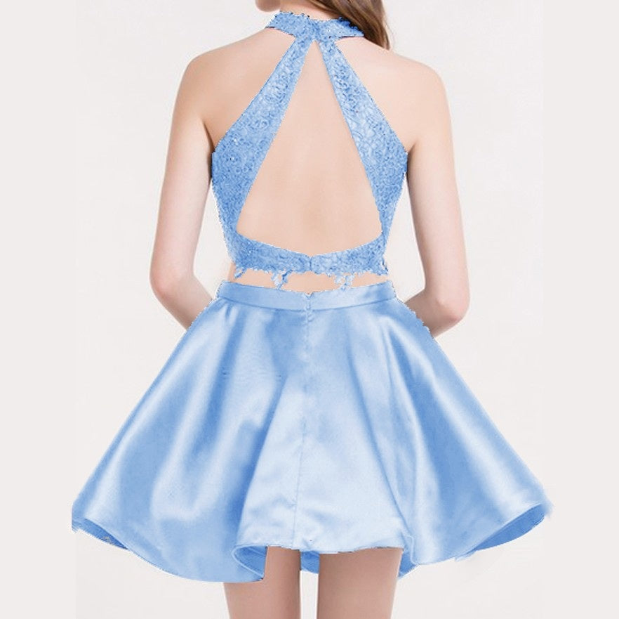 Two Piece Round Neck Short Tiered Satin Blue Open Back Homecoming Dress with Lace PM259