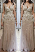 Champagne tulle sequins luxury  V neck long chiffon evening dresses