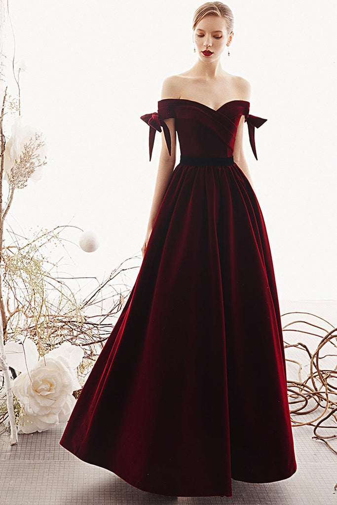 Charming A Line Long Off the Shoulder Burgundy V Neck Prom Dresses with Sweetheart P1389