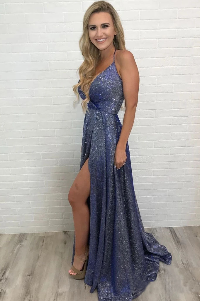 Unique High Slit Deep V Neck Sparkly Halter Prom Dresses Spaghetti Straps Formal Dresses P1358